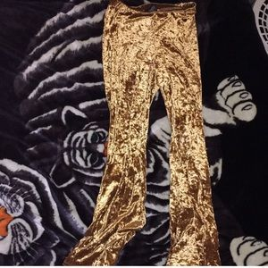70s gold velvet comfy bell bottoms